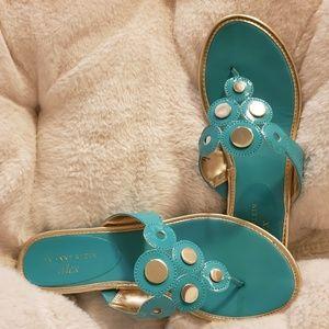 AK Anne Klein Achazie Thong Sandals in Turquoise